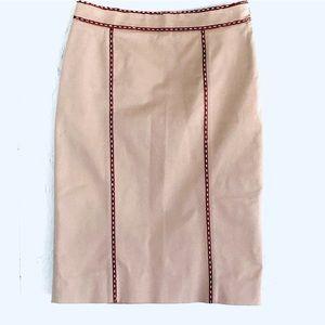 CELINE khaki/leather pencil skirt